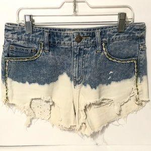 Pants - Free People Jean Denim Bleached Raw Edge Shorts